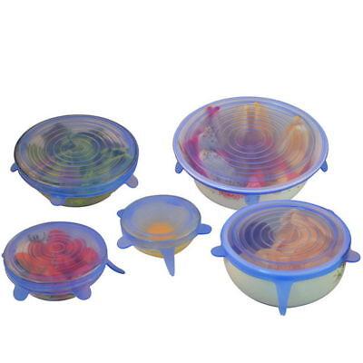 Stretch Reusable Silicone Bowl Wraps Food Saver Cover Seal Lids NSTA LIDS 6 PCS 4