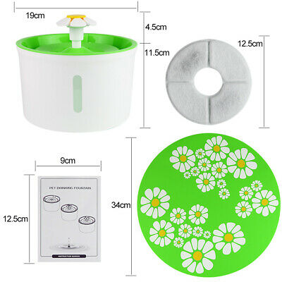 Automatic Cat Dog Water Drinking Flower Fountain Pet Bowl Drink Dish Filter New 3