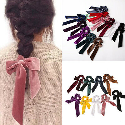 Boho Print Ponytail Scarf Bow Elastic Hair Rope Tie Scrunchies Ribbon Hair Bands 4