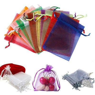 100x Large Organza Favour Pouches Gift Bag Voile Net Bags Drawstring Multi Color 2