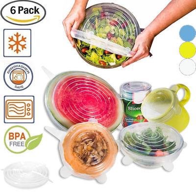 Stretch Reusable Silicone Bowl Wraps Food Saver Cover Seal Lids NSTA LIDS 6 PCS 7