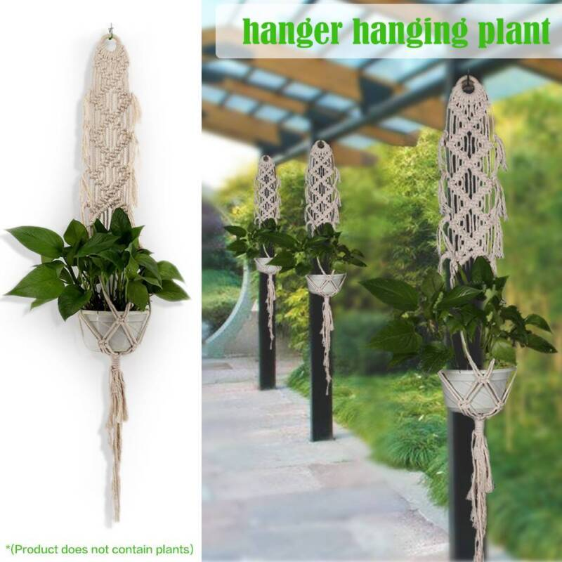 Vintage Pot Holder Macrame Plant Hanger Hanging Planter Basket Jute Rope Braided