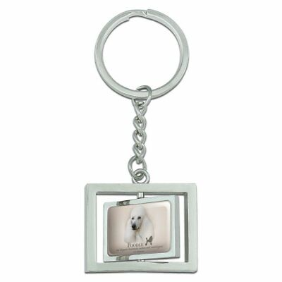 Rottweiler Rottie Dog Breed Spinning Rectangle Chrome Plated Metal Keychain