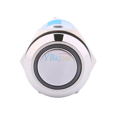 12v 19mm Blue Led Power Symbol Angel Eye Push Button Toggle Metal On