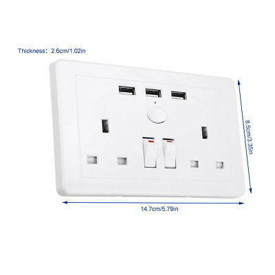 Double Wall Plug Socket 2 Gang 13A with 3 USB Ports Screwless Slim Flat Plate 6
