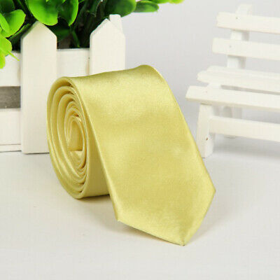 Mens SKINNY TIE Plain Wedding Slim Necktie Formal Casual Narrow Party Solid NEW 8