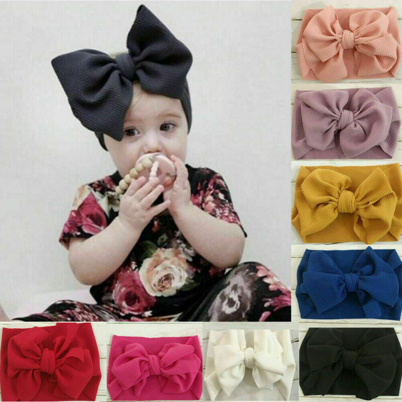 Toddler Girls Baby Big Bow Hairband Headband Stretch Turban Knot Head Wrap S8- 3