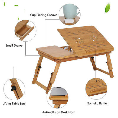 Laptop Sofa Bed Computer Desk Table Foldable Cooling Hole Holder Writing Tray AU