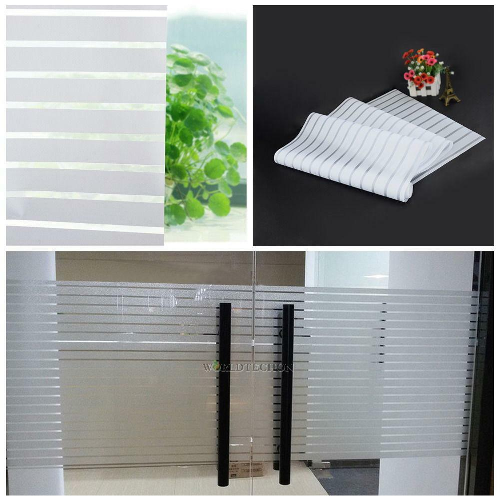 Frosted Window Privacy Film Etch Glass Self Adhesive Striped Sticker Home  Decor 2 2 of 7. Frosted Window Privacy Film Etch Glass Self Adhesive Striped