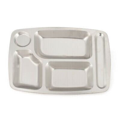 Metal Aspire Rectangle Food Serving Tray Silver Compartment Divided Dining Dish