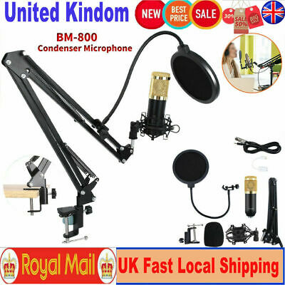 BM800 Condenser Microphone Mic Kit Live Studio Sound Recording Mount Boom Stand 3