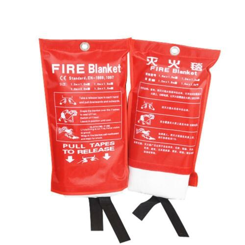 FIRE BLANKET 1M x 1M QUALITY QUICK RELEASE LARGE FULLY APPROVED RED CASE 2