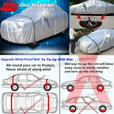 Aluminum waterproof Double thicker n car cover rain resistant UV dust car cover 7