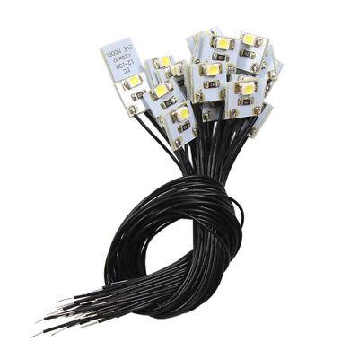 DD00WM NEU 20 Stk. LED Hausbeleuchtung 10x10mm warmweiss mit Kabel 20cm 12-18 V