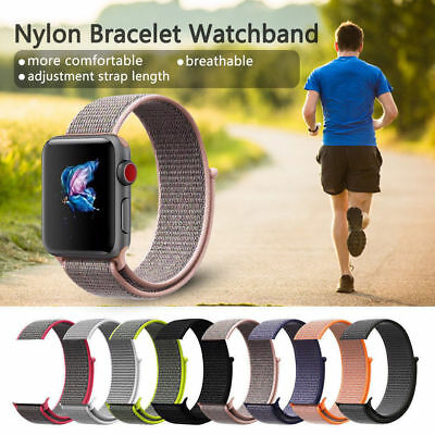 Für Apple Watch Nylongewebte Band Nylon Sport Loop Armband Serie 4 3 2 1 38 42mm 4