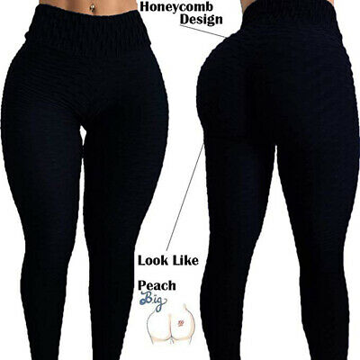 Womens Yoga Gym Anti-Cellulite Compression Leggings Push Up Fitness Sport Pants 2