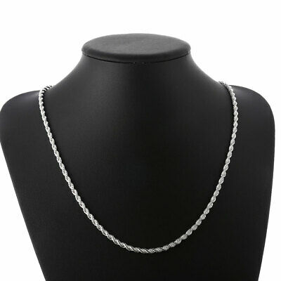 Fashion 925sterling Solid Silver 4MM Snake Rope Chain Men Necklace 16-24 inch 6