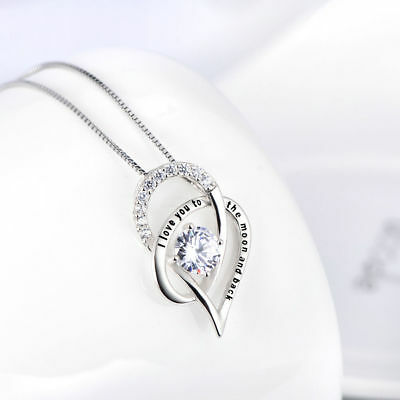 "I Love You To The Moon and Back Heart Necklace Made with Swarovski Crystals 18"" 2"