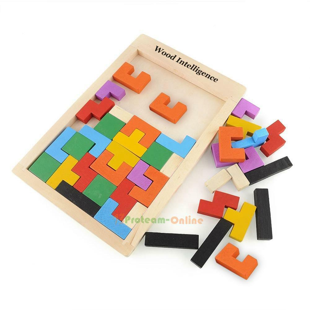 Wooden Tangram Brain Teaser Puzzle Toys Tetris Game Imagination Trainer Kid Toy