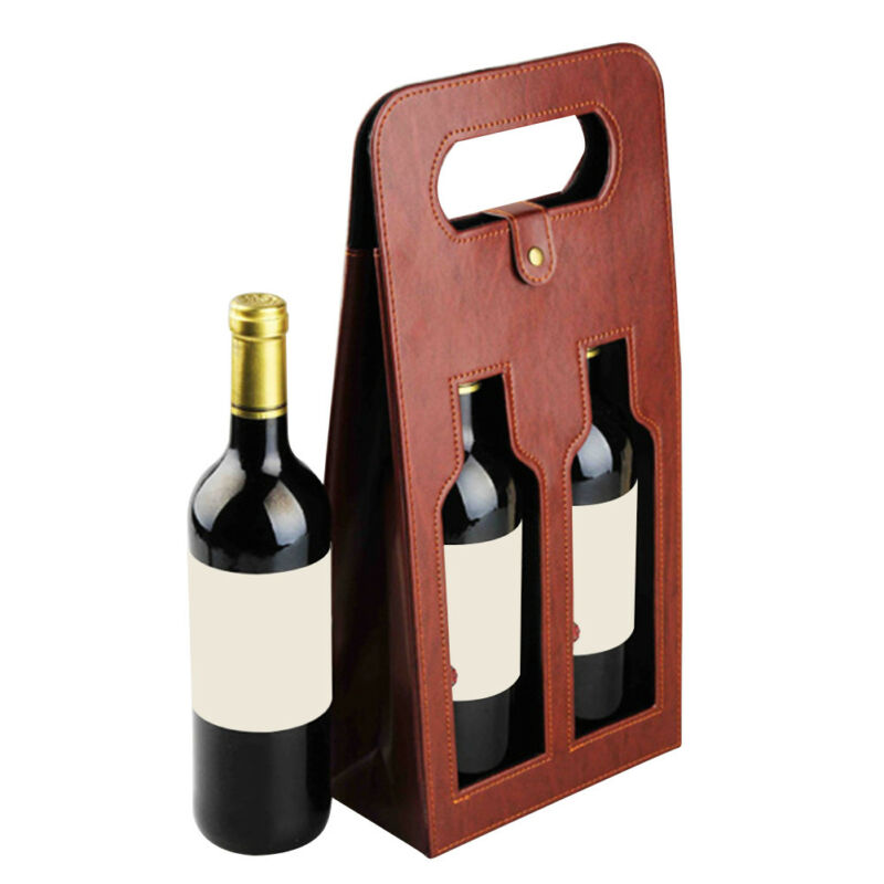 Wine Leather Box Two Bottles Packing Grape Whiskey Box Christmas Wedding Gifts