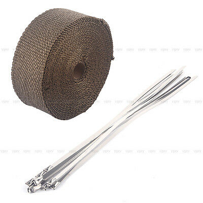 2000F EXHAUST HEAT WRAP TITANIUM Gold 10M X 50MM  + 10 STAINLESS TIES INSULATION 2