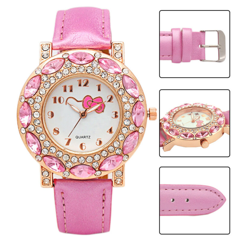 1a16b5eb3 Fashion Hello Kitty Wrist Watch Girl Teens Kids Cartoon Quartz Analog  Watches 7 7 of 10 ...