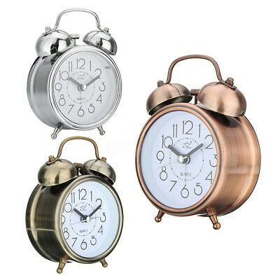 Retro Loud Double Bell Round Quartz Movement Mechanical Keywound Alarm Clock UK 6