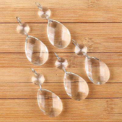 10Pcs Clear Crystal Glass Chandelier Lamp Parts Prisms Pendant Drops Decor 38MM 4