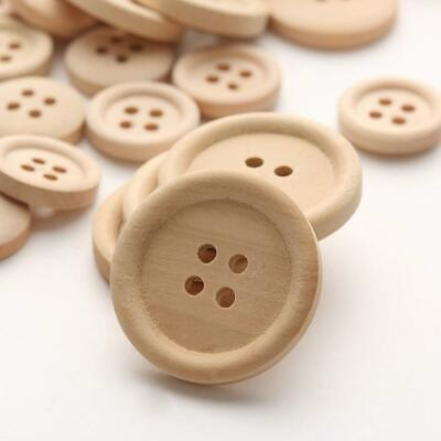 50 Pcs Mixed Wooden Buttons Natural Color Round 4-Holes Sewing Scrapbooking DIY 4