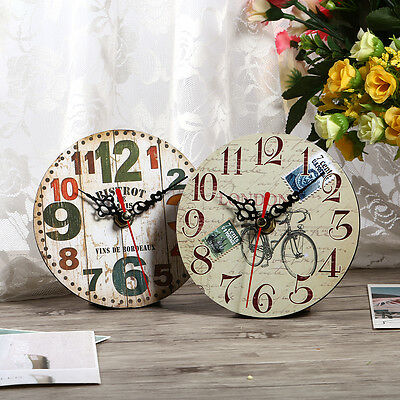 Vintage Rustic Wooden Wall Clock Home Antique Shabby Chic Retro Kitchen Decor HG 7
