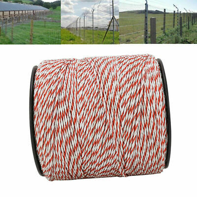 4x500m Roll Electric Fence Energiser Stainless Steel Poly Wire Insulator Rope 4