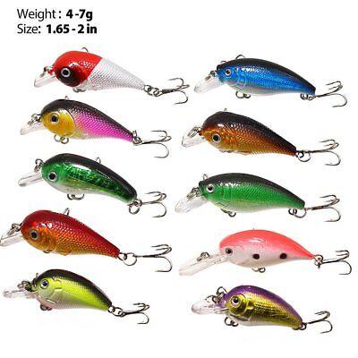30x Fishing Lures Crankbaits Treble Hooks Minnow Crank Baits Tackle Bass Minnow