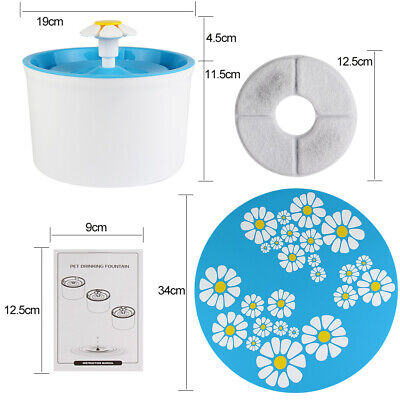 Automatic Cat Dog Water Drinking Flower Fountain Pet Bowl Drink Dish Filter New 4