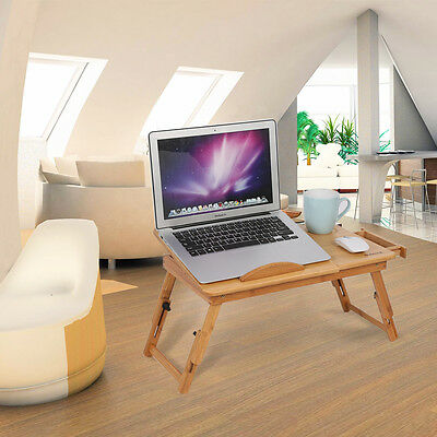 Portable Bamboo Laptop Notebook Desk Table Cooling Mouse Holder Tray Sofa Bed AU 4