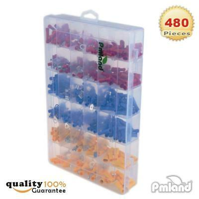 480Pcs 12 Size Assorted Insulated Electrical Wiring Wire Terminal Crimp Kit 3