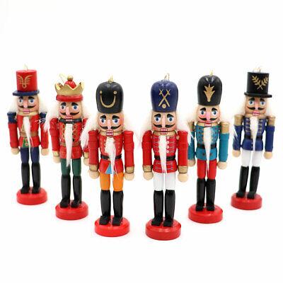 6Pcs Wooden Nutcracker Doll Soldier Mini Vintage Ornaments Christmas Home Decor 7