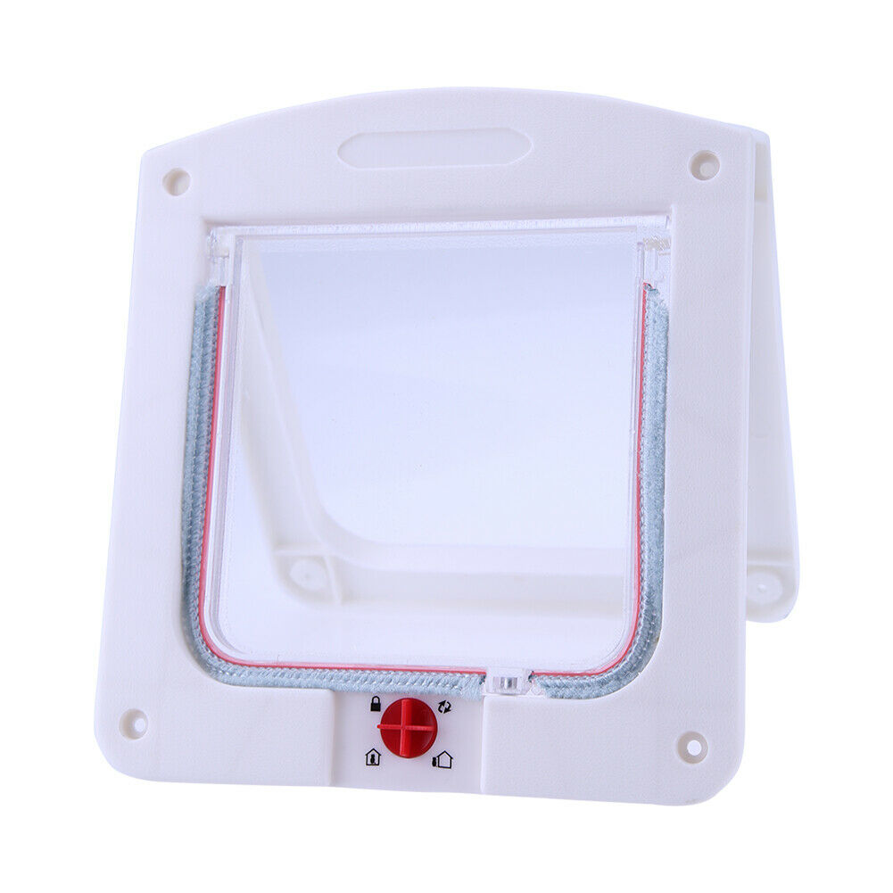 Lockable Cat Flap Door Kitten Dog Pet Lock Suitable for Any Wall White A#S 10