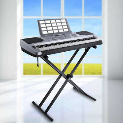 Portable Heavy Duty X Frame Folding Adjust Heights Keyboard Stand Piano + Straps 2