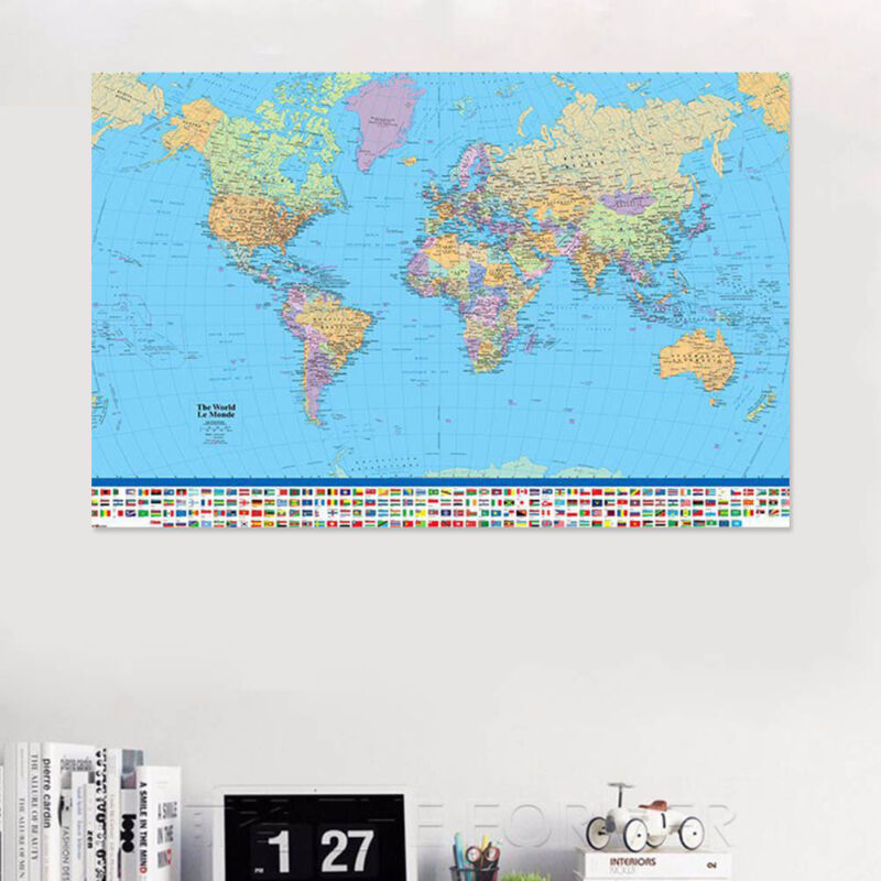 MAP OF THE WORLD IN MILLER PROJECTION FLAGS AND FACTS 90 X 60CM MAXI POSTER Be 5