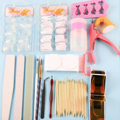 Full Acrylic Powder Nail Art Tool Starter Kit-Set Nail Tips Brush File Form DIY 3