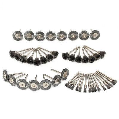 45pc Rotary Wire Steel Brass Brush Polishing Drill Bit Wheel Cup Set for Dremel 4