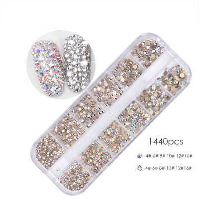1440Pcs Flat Back 3D Nail Art Rhinestones AB Crystal Strass Manicure Gems Tips 2