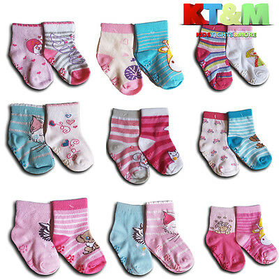 Baby Toddler Girl ABS Anti Non Slip Cotton Socks 2 Pairs Size 3 Months to 3Years 4