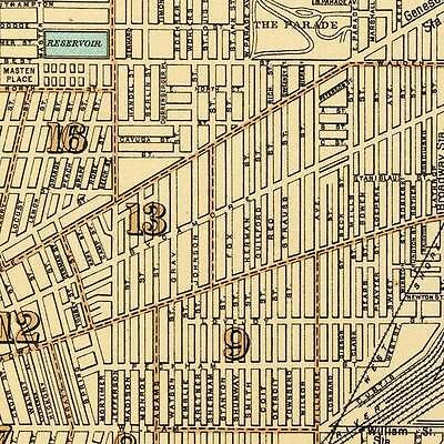 City Of Albany New York Downtown Map Circa 1895 Vintage Street Repro Poster Art Art Posters