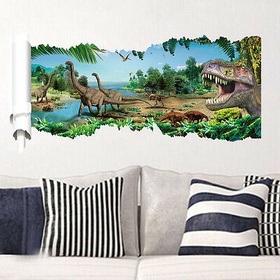 wandtattoo wandbild wandaufkleber kinderzimmer dinosaurier landschaft sticker 3d eur 10 95. Black Bedroom Furniture Sets. Home Design Ideas