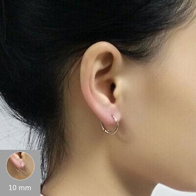 1Pair Punk Mens Women Stainless Steel Hoop Huggies Ear Stud Earrings Gothic 4