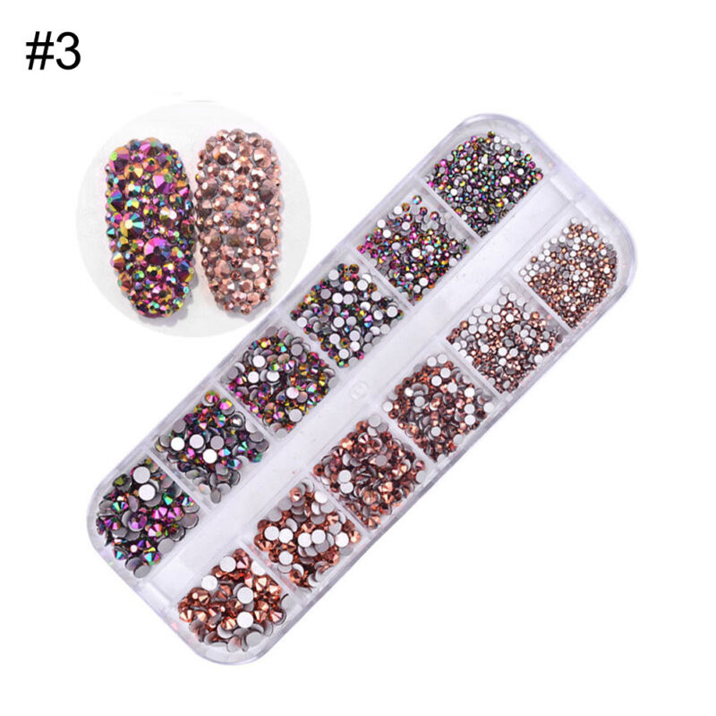 1440pcs Flat Back Nail Art Rhinestones Glitters Diamonds 3D Tip Manicure Decor 8