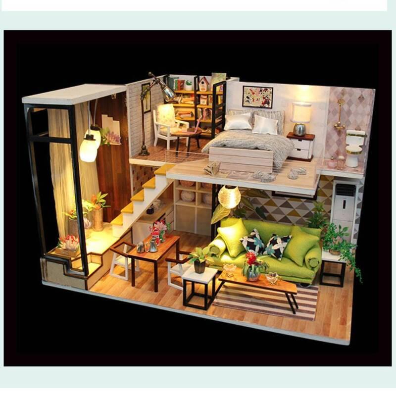 DIY Wooden Cottage Dollhouse Miniature Kit Dolls House W/ Furniture LED Light AU