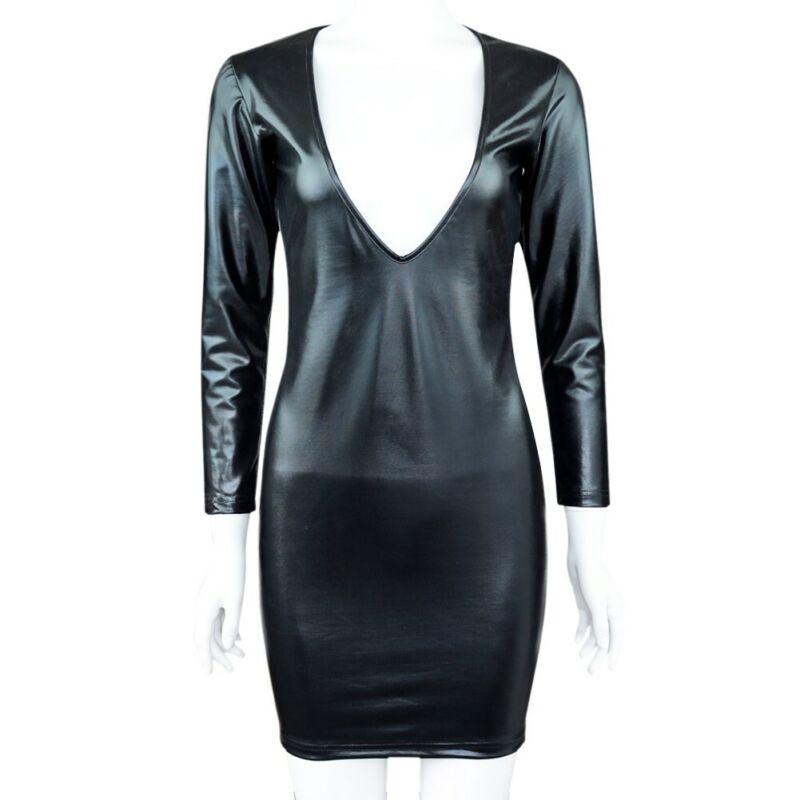 Damen Wetlook Bodycon Bandage Kleid Langarm V-Ausschnitt Minikleid Partykleid 7