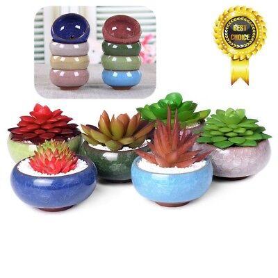NEWEST Ice-Crack Glaze Flower Ceramics Succulent Plant Mini Pot Garden Flowerpot 4